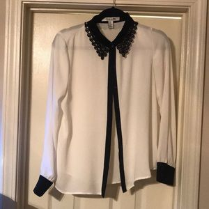 White button up with black lace accent